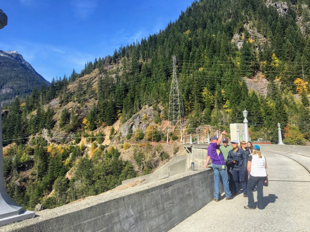 Students learn about the Skagit River Hydroelectric Project from atop the dam