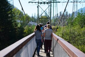 Students exploring the dam's infrastructure.